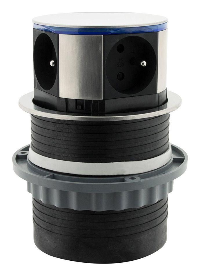 Otio LIFT встраиваемая выдвижная розетка с USB зарядкой и LED подсветкой исполнение нержавеющая сталь