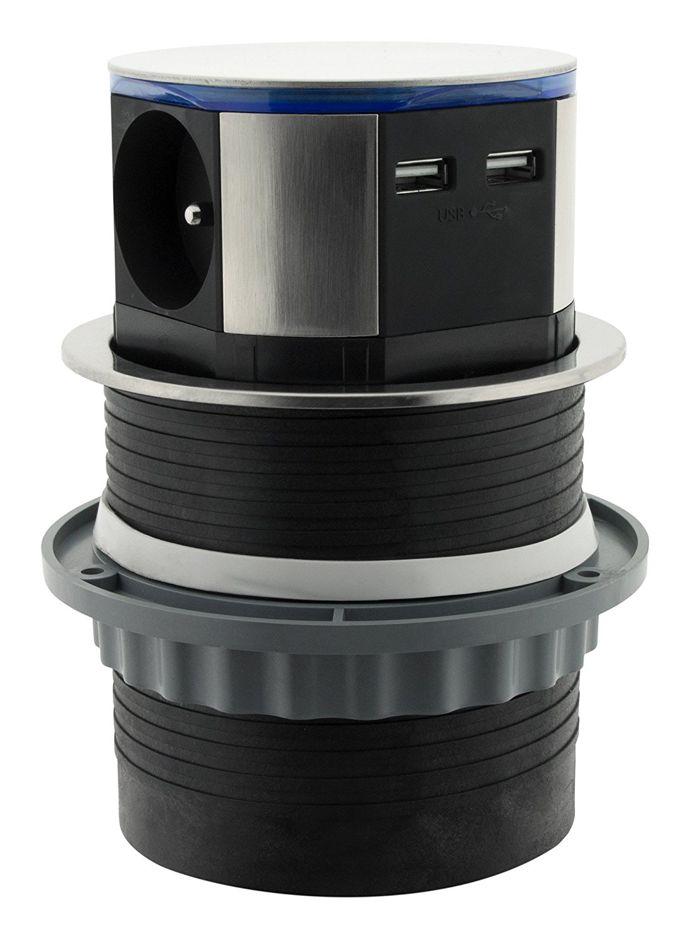 Otio LIFT встраиваемая выдвижная розетка с USB зарядкой и LED подсветкой нержавеющая сталь
