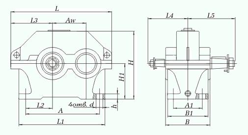 Редукторы цилиндрические одноступенчатые горизонтальные 1ЦУ. Конструкция, габариты и присоединительные размеры редукторов