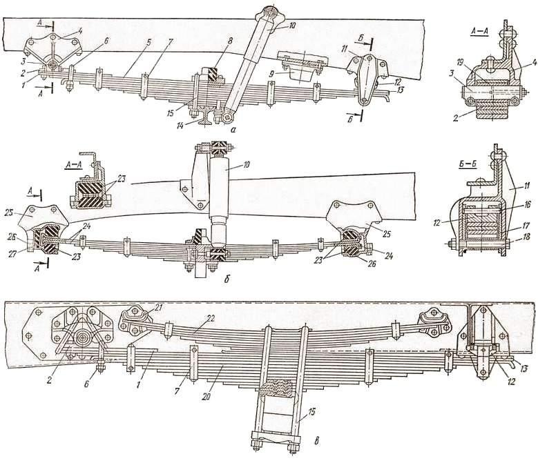 Рессора:  а – передняя ЗИЛ-130; б – передняя ГАЗ-5ЗА; в – задняя автомобиля ЗИЛ-130