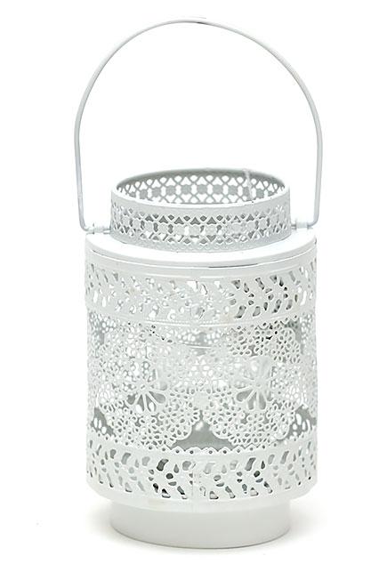 Подсвечник-фонарик металлический Кружево 15см со стеклянной колбой, цвет - белый