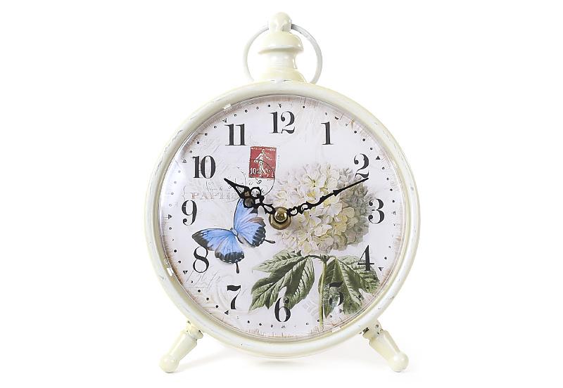 Часы настольные металлические ретро Гортензия