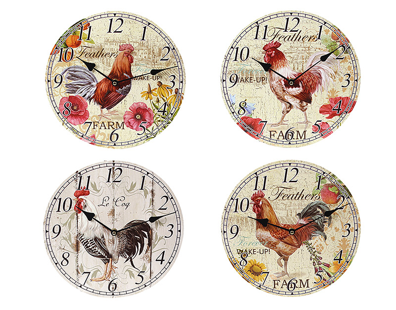 Часы настенные деревянные Петух BonaDi 487219
