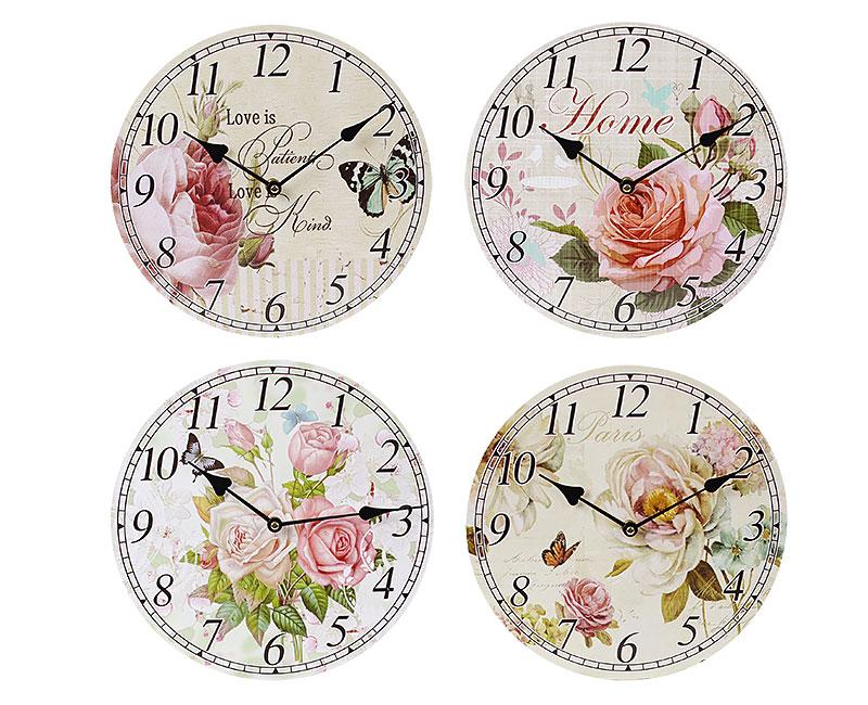 Часы настенные деревянные Цветы
