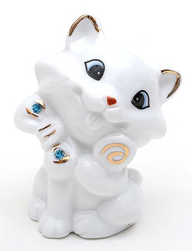 Декоративная статуэтка фарфоровая Кошка со стразами 7.2см