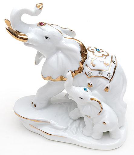 Декоративная статуэтка фарфоровая Слоники со стразами 12.8см
