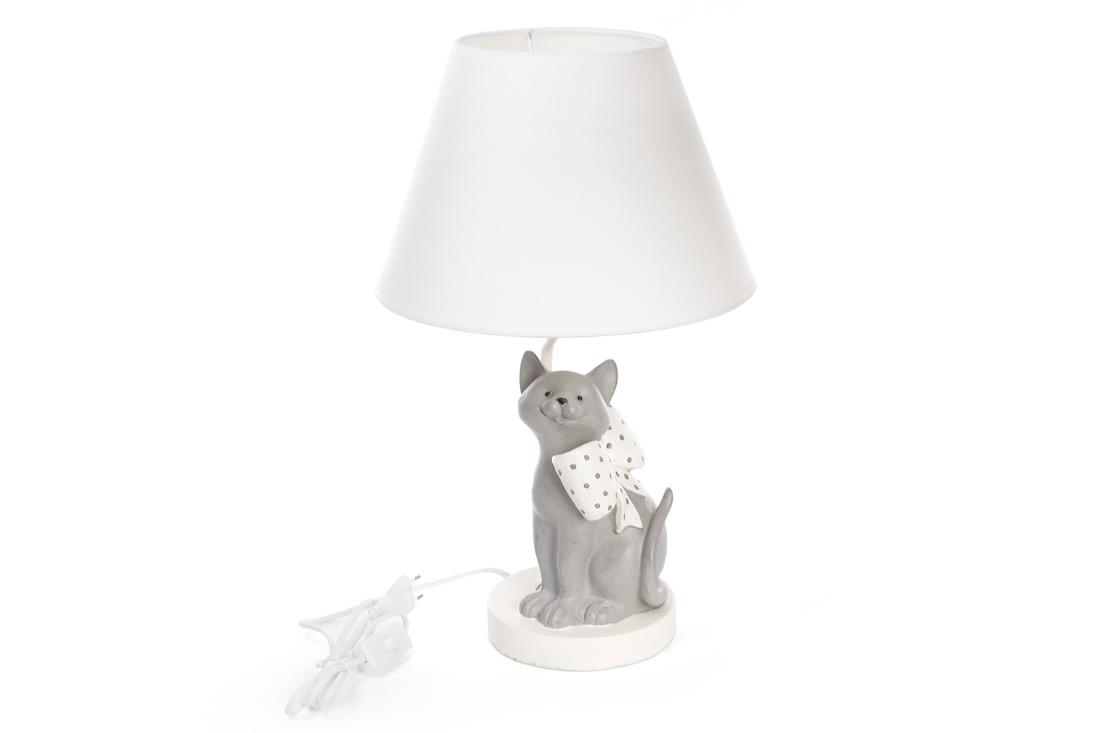 Лампа настольная Кот с бантом 50см с тканевым абажуром
