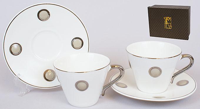 Кофейный сервиз фарфоровый 4пр: 2 чашки 125мл + 2 блюдца