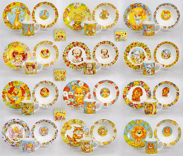 Детский набор: чашка, тарелка, глубокая тарелка, 12 видов