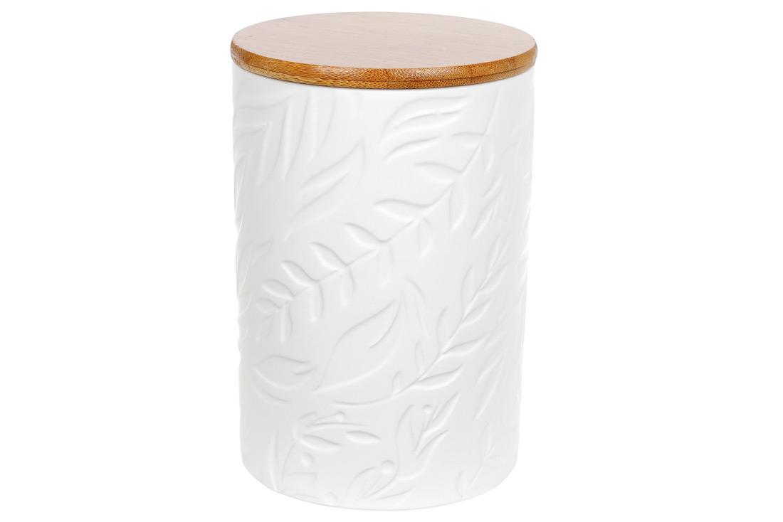 Банка керамическая 800мл с бамбуковой крышкой Листья цвет белый матовый BonaDi 304-902