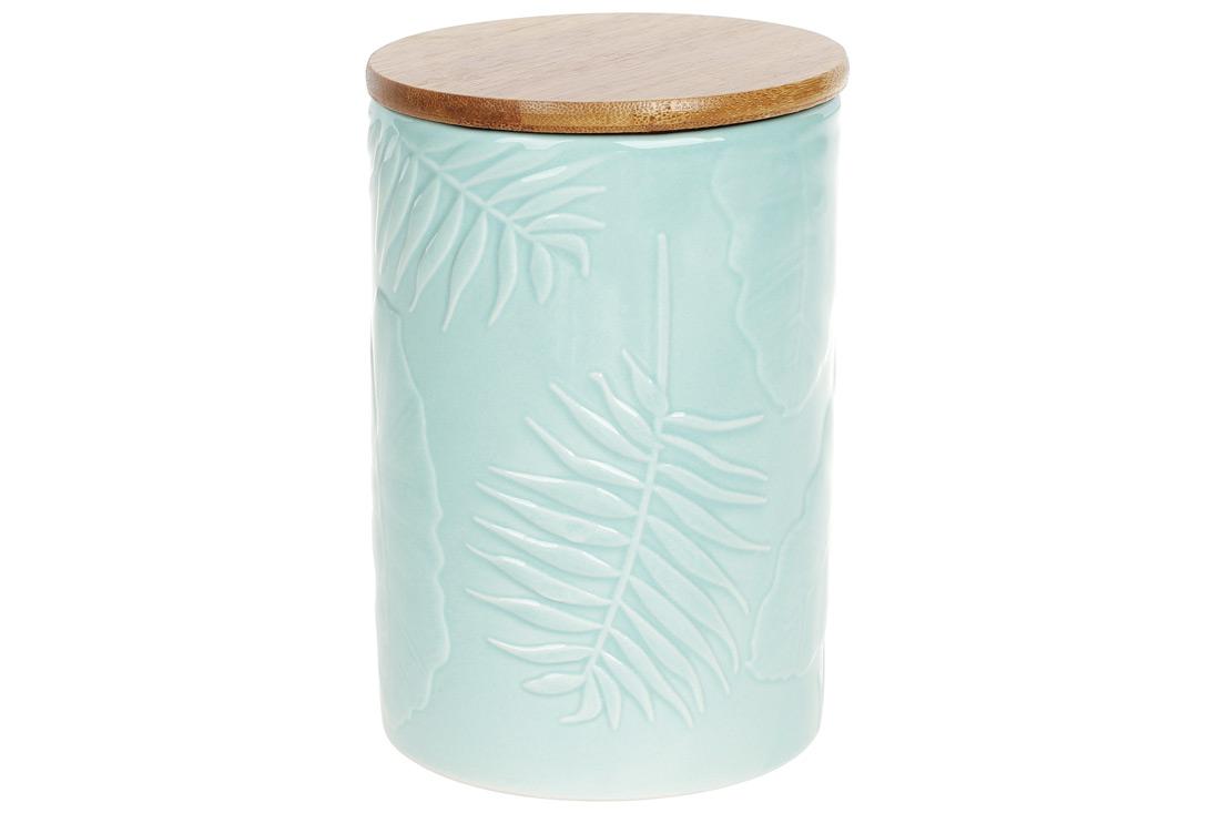 Банка керамическая 800мл с бамбуковой крышкой Тропикана15см цвет лазурный голубой BonaDi 304-908