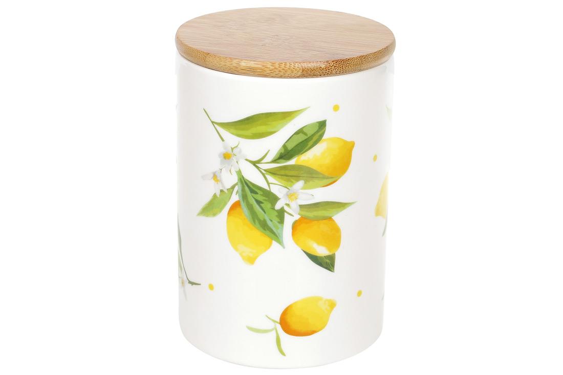 Банка керамическая 800мл с бамбуковой крышкой Сочные лимоны BonaDi DM007Y