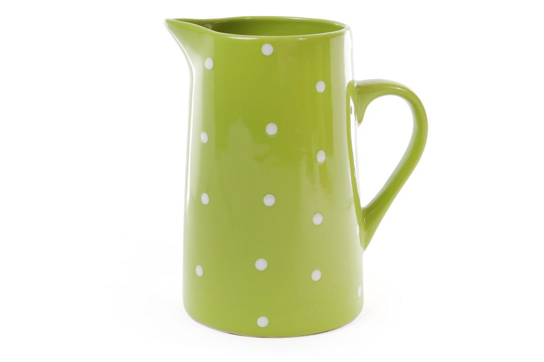 Кувшин керамический 1000мл, цвет - зелёный в белый горошек