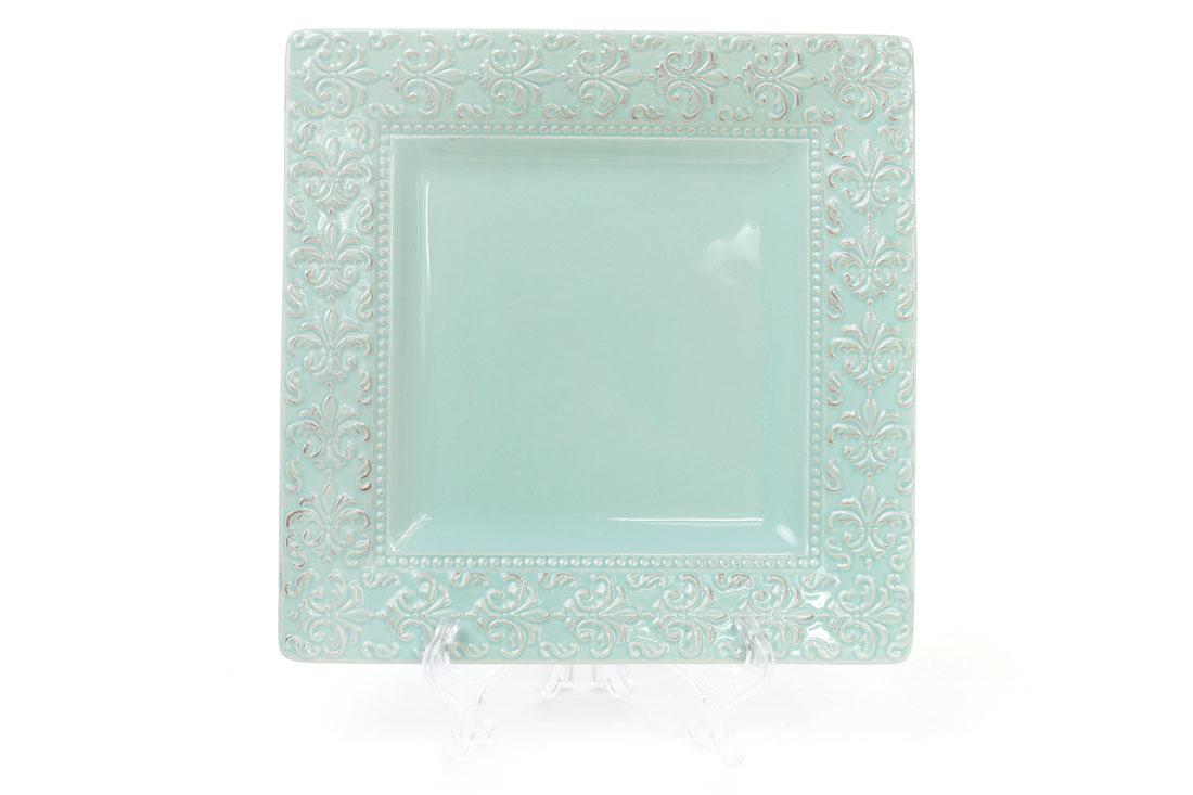 Блюдо керамическое квадратное Королевская лилия 23см цвет светло-зеленый BonaDi 545-230
