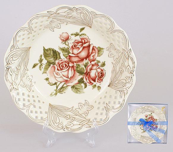 Блюдо фарфоровое 20см Корейская роза BonaDi XX858