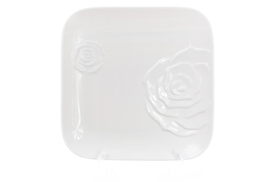 Тарелка обеденная фарфоровая квадратная 25см цвет белый BonaDi 558519