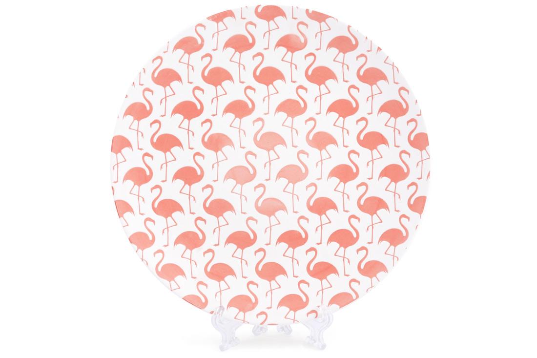 Тарелка фарфоровая 215см с тиснением Розовый фламинго BonaDi 945214