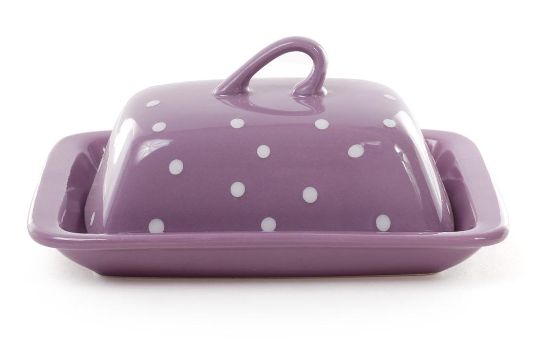 Масленка, цвет - фиолетовый в белый горошек