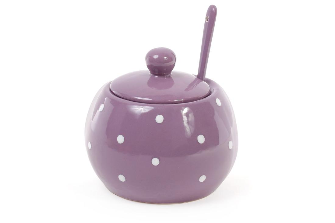 Сахарница с ложкой 350мл, цвет - фиолетовый в белый горошек