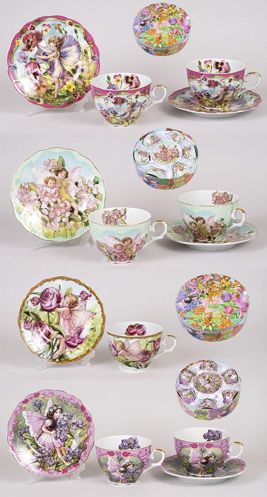Чайный набор 12 предметов: 6 чашек фарфоровая 250мл с блюдцем, 4 вида