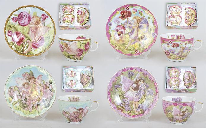 Чайный набор 4 предмета: 2 чашки фарфоровые 250мл с блюдцем, 4 вида