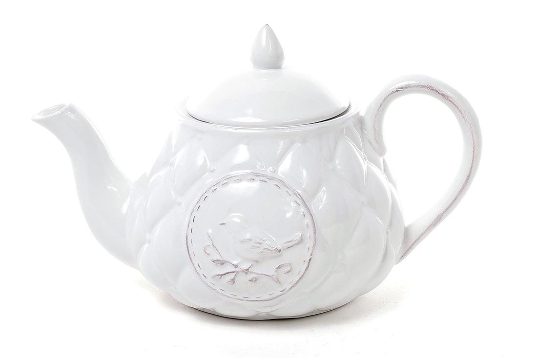 Чайник керамический Птица 800мл, цвет белый