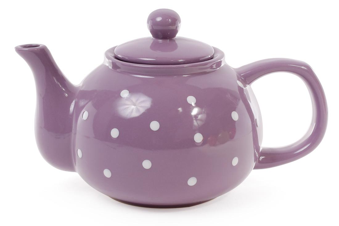 Чайник 1000мл, цвет - фиолетовый в белый горошек
