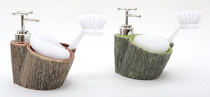 Дозатор для жидкого мыла с губкой и щеткой 15см, 2 вида