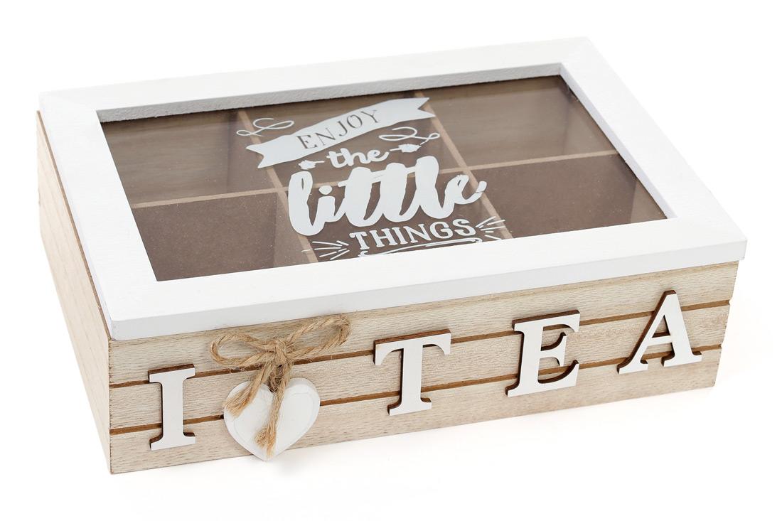 Коробка для чая деревянная (6 отделений) со стеклянной крышкой