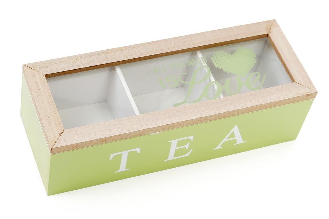 Коробка для чая деревянная со стеклянной крышкой, цвет - яблочный