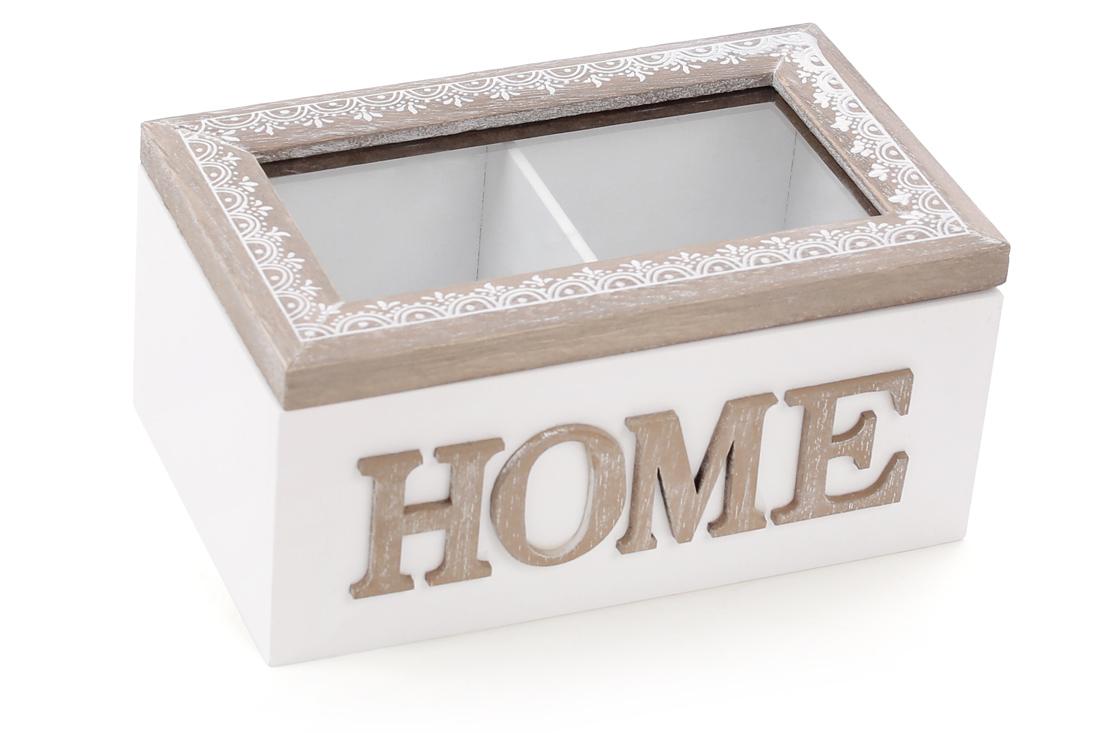 Коробка для чая  деревянная 16.5см Home со стеклянной крышкой