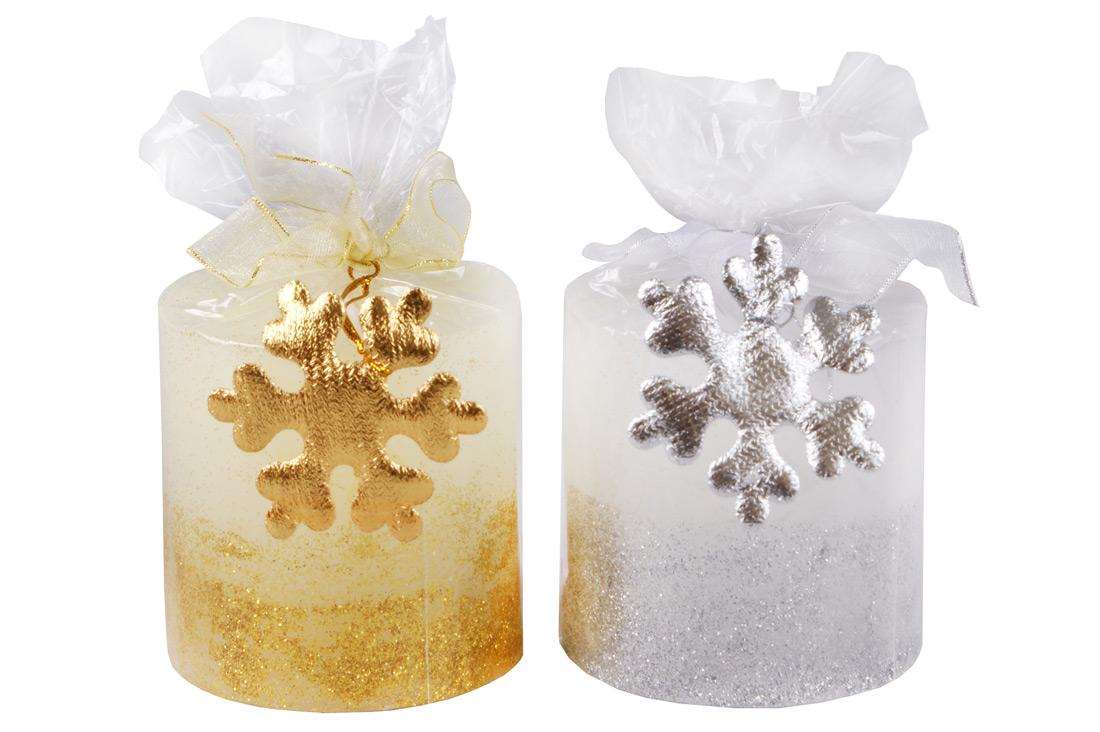 Свеча с декором Снежинка 7см, 2 вида