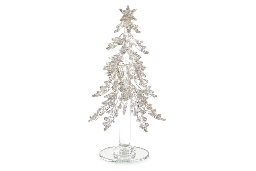 Декоративная стеклянная елка 18см шампань