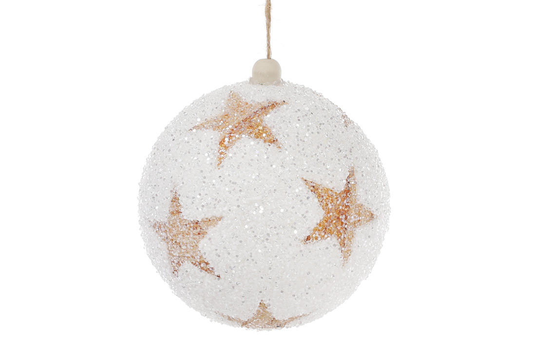 Елочный шар 10см, белый с медными звездами, покрытие - лед