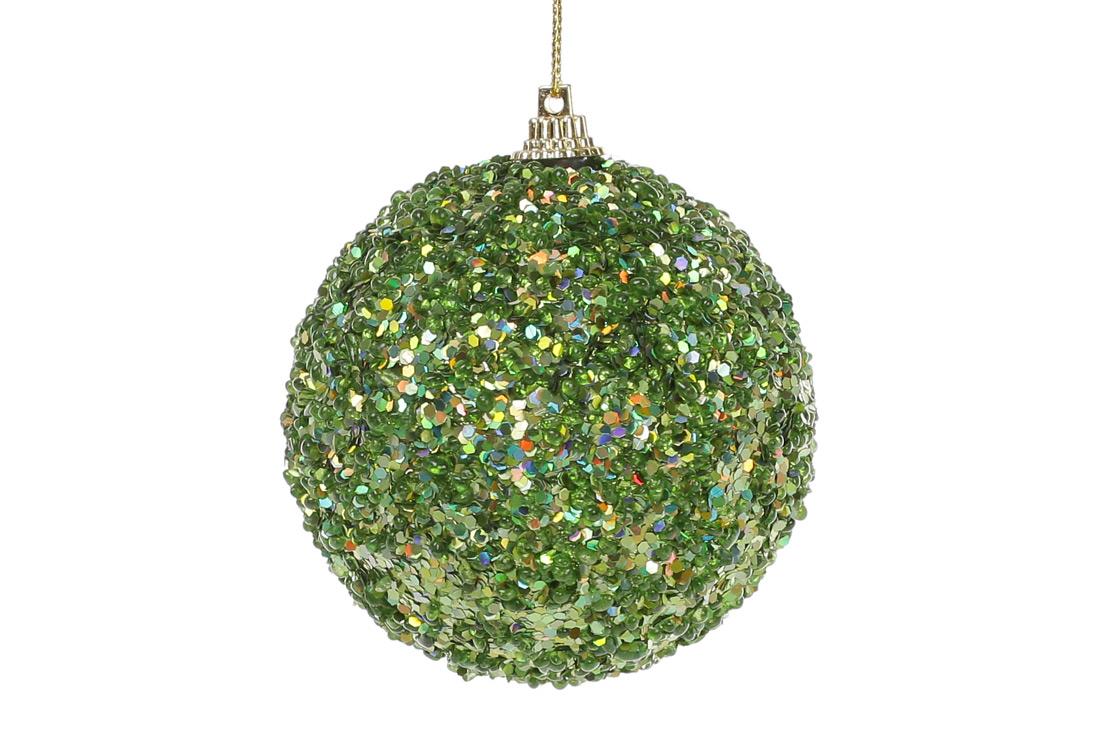 Елочный шар 8см, зеленый с покрытием лёд