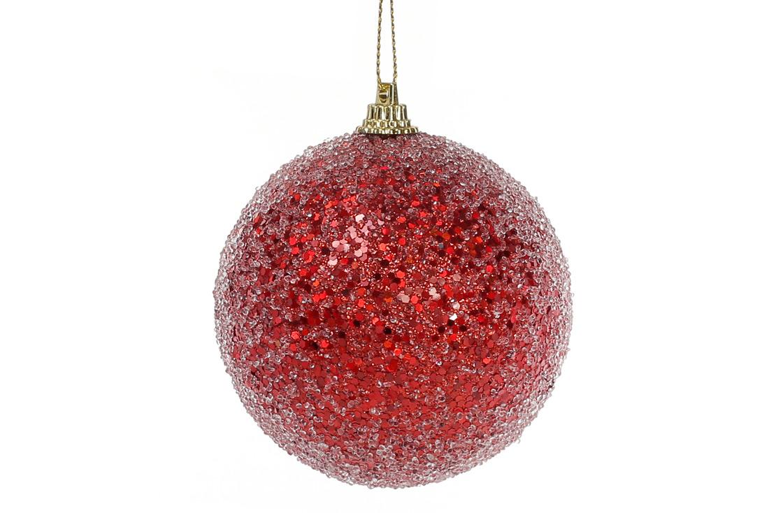 Елочный шар 8см, красный с покрытием лёд