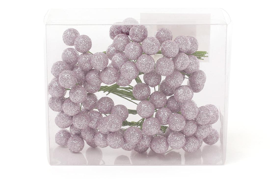 Набор декоративных ягод 12 мм, 96шт, цвет - розовый глитер