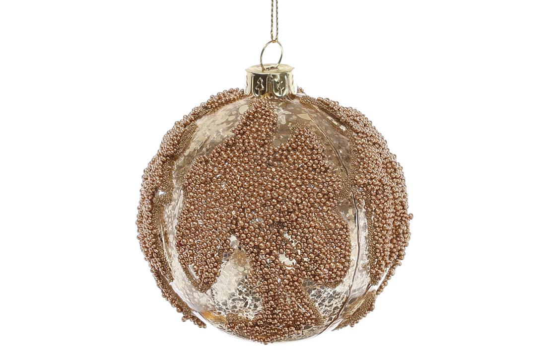 Елочный шар 8см цвет - золото антик с декором BonaDi 118-507