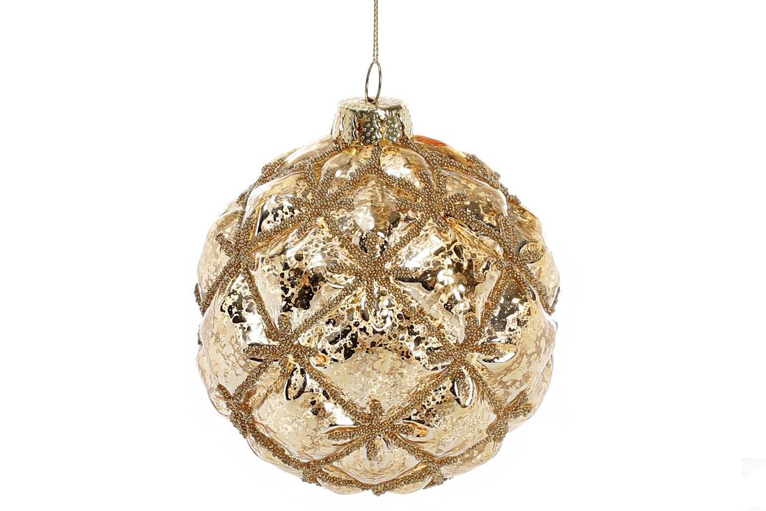 Елочный шар с декором из бусин 8см цвет - золото BonaDi 118-517
