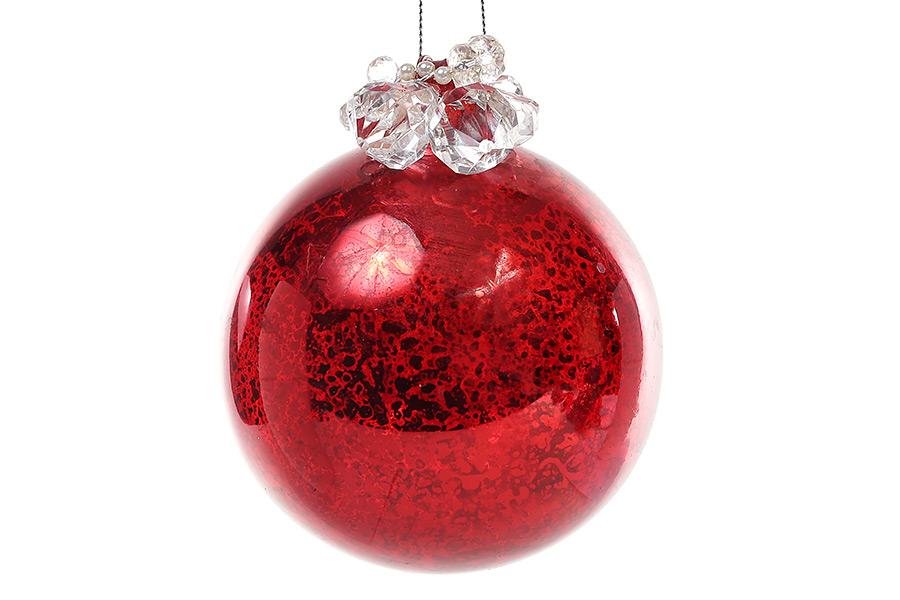 Елочный шар 10см красный антик, с декором из бусин и жемчуга