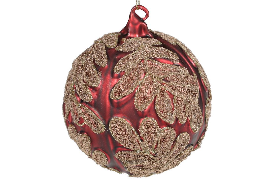 Елочный шар 10см красный матовый с золотым узором BonaDi 118-584