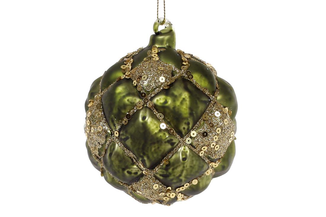 Елочный шар 8см, цвет - темно-зеленый с золотом