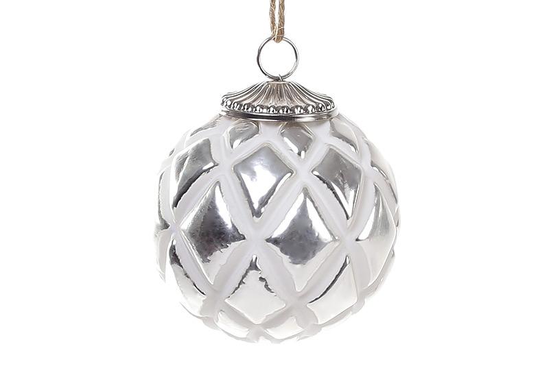 Елочный шар 8см, цвет - мелованное серебро