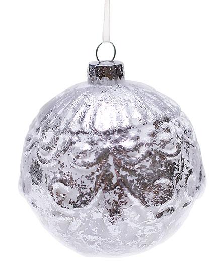 Елочный шар серебро с патиной, 8см