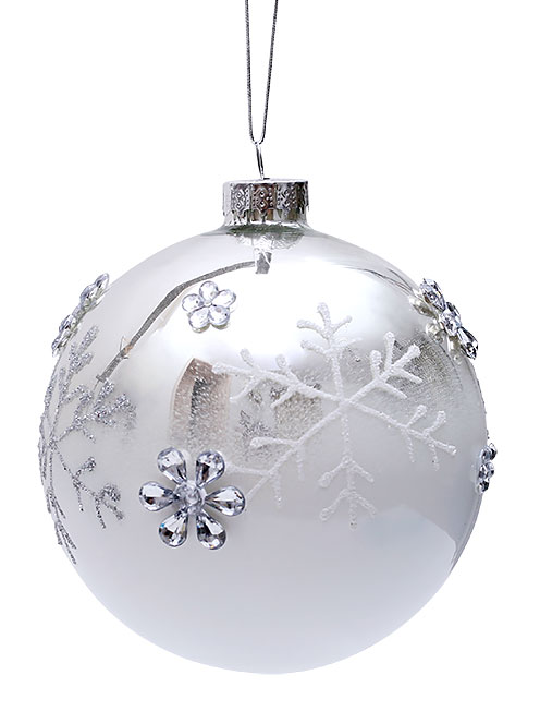 Елочный шар 10см с декором Снежинки BonaDi NY25-545