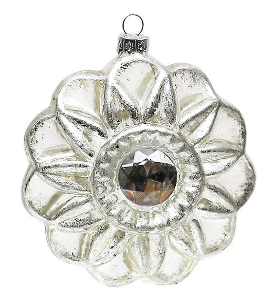 Елочное украшение в форме цветка с кристаллом, 10см