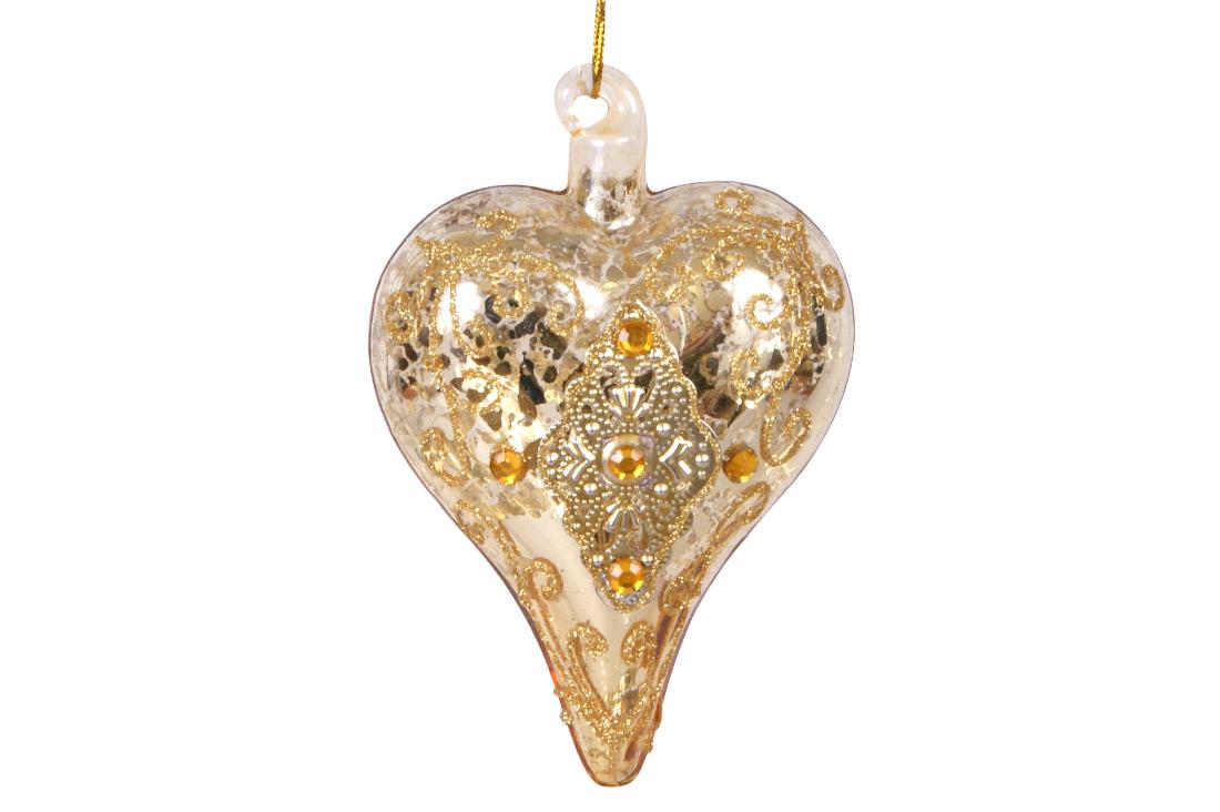 Елочное украшение в форме сердца с орнаментом и кристаллами, 9см