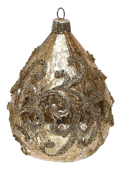 Елочное украшение в форме капли с золотым орнаментом, 11см