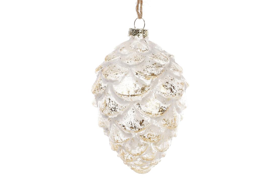 Елочное украшение Шишка 10см, прозрачное стекло, патинированное золото