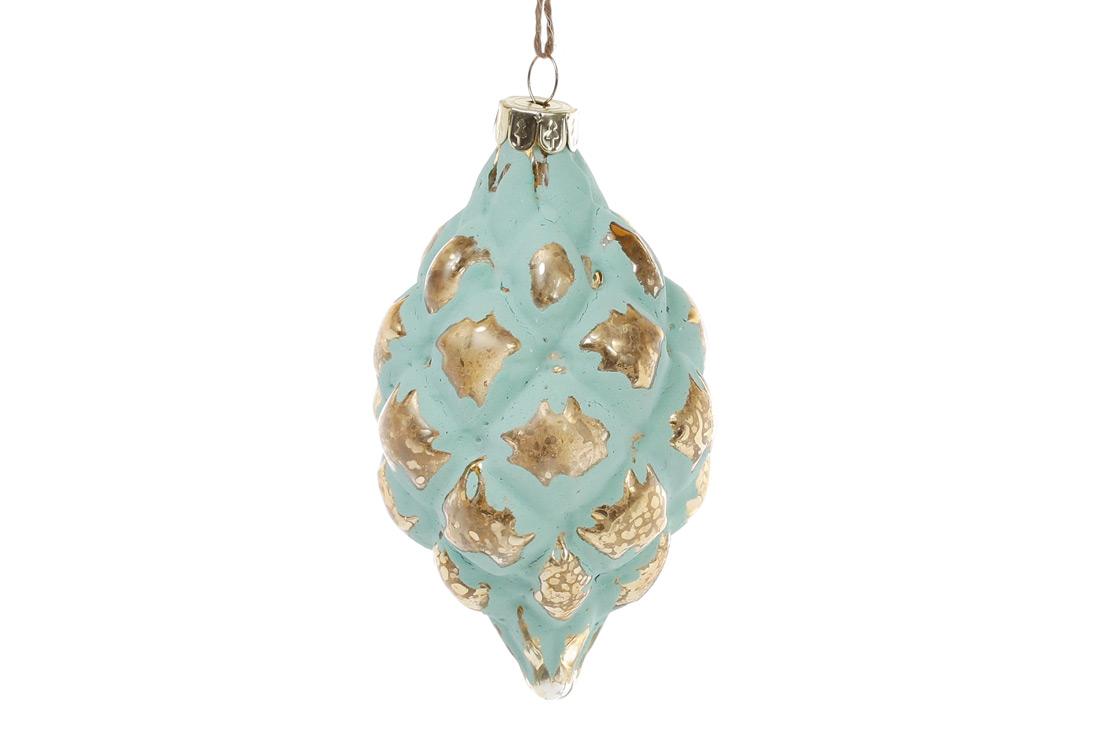 Елочное украшение в форме оливы 13см, цвет - мята с золотом